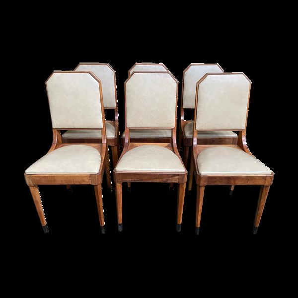 Suite de 6 chaises époque art déco restaurées