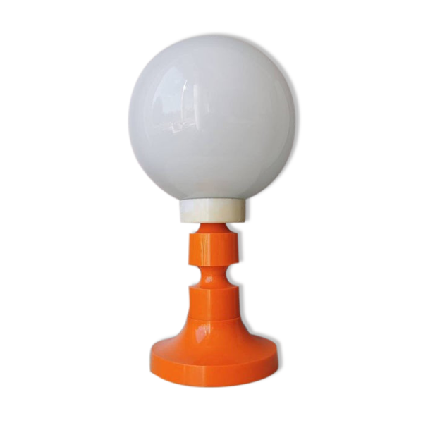 Lampe de table rétro des années 70 orange blanc