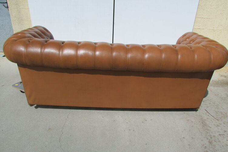 Sofa Chesterfield 3 seats patinated fawn leather
