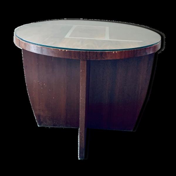 Selency Table basse art déco inscrustations argent