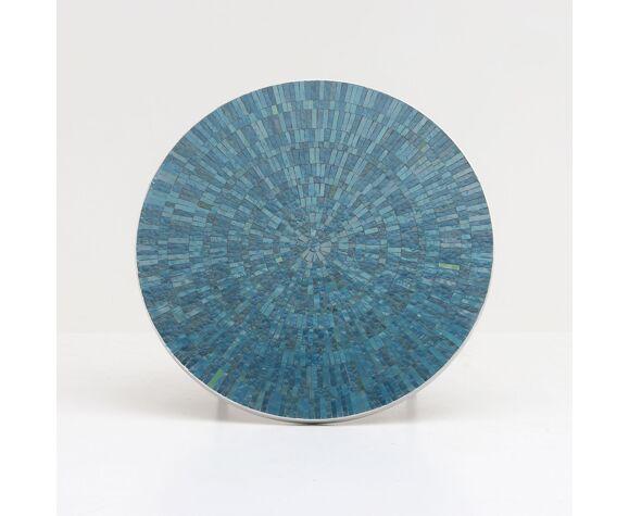 Table basse en céramique ronde azur des années 1960