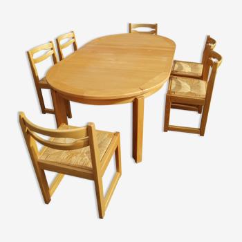 Table et 6 chaises en orme massif
