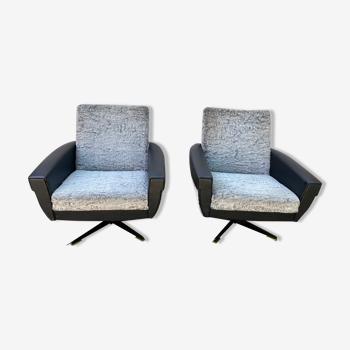 Paire de fauteuils pivotant vintage  1960