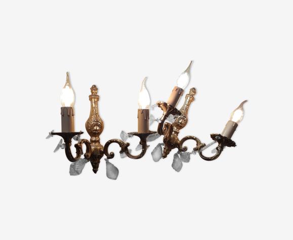 Appliques en bronze laiton 2 feux à pampilles