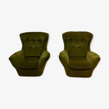 Paire de fauteuils Steiner vert vintage, France 1960