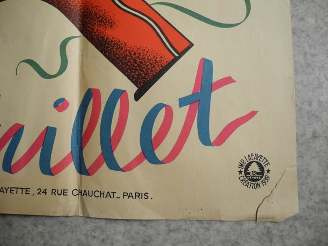 Affiche ancienne loterie 14 juillet 1939