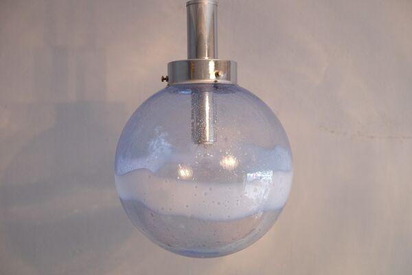 Mazzega Murano Globe Pendentif, Bold Swirl, Italie années 1960
