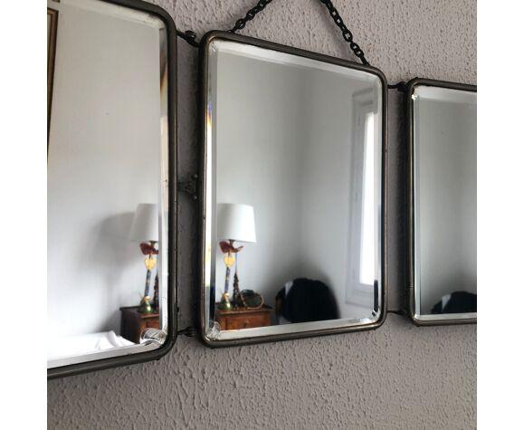 Miroir vintage 1930 triptyque barbier cristal - 27 x 67 cm