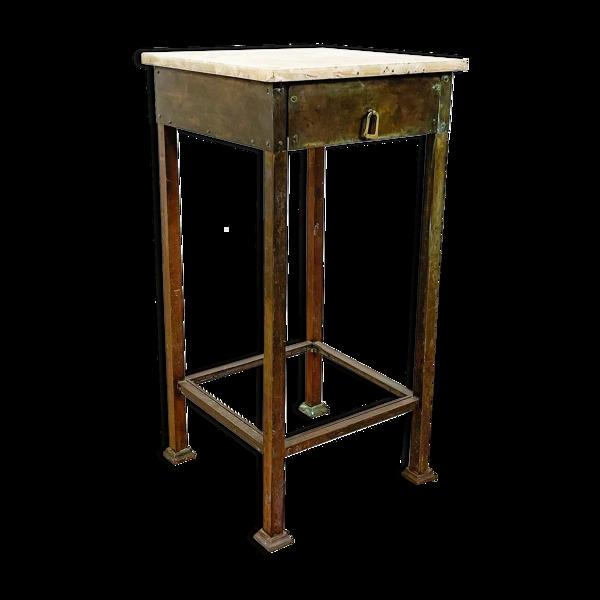 Table d'appoint en laiton vintage avec plateau en marbre