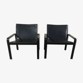 Paire de fauteuils en cuir et métal an 70 Mattéo Grassi