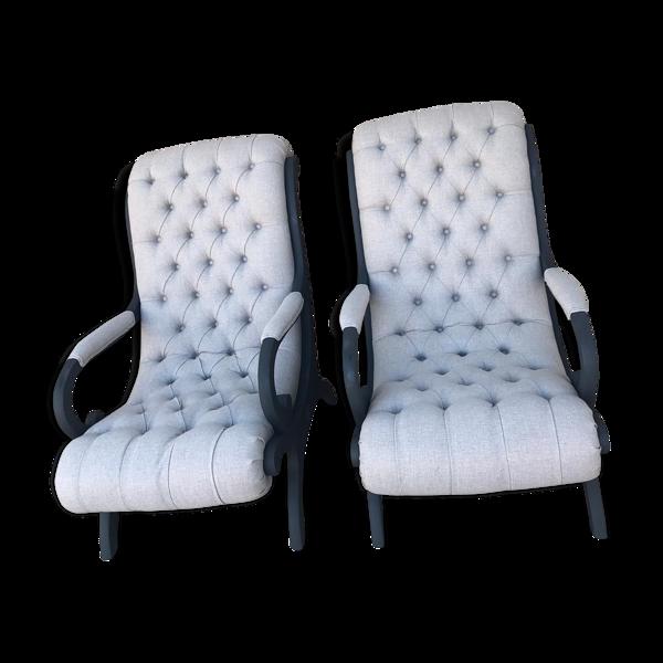 Paire de fauteuils victoria chesterfields