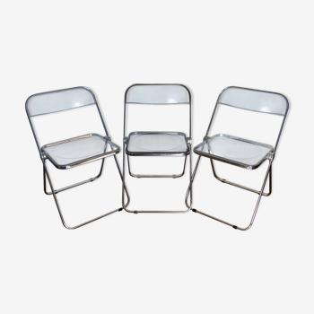 Trois chaises pliantes Plia Giancarlo Piretti pour Castelli