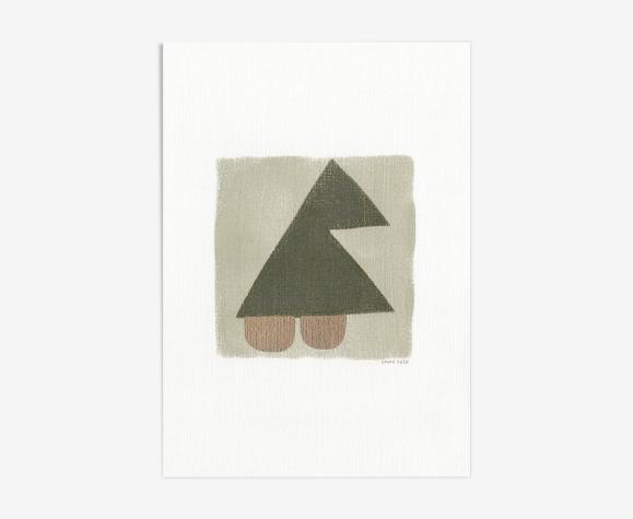 Peinture sur papier abstraite datée et signée sans cadre