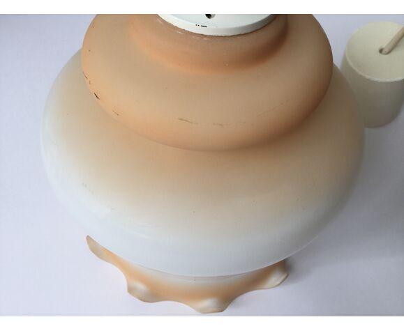 Suspension opaline vintage orange et blanche