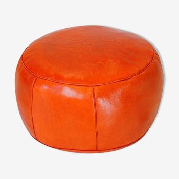 Handmade orange leather Fes Ottoman 40 X 25 cm