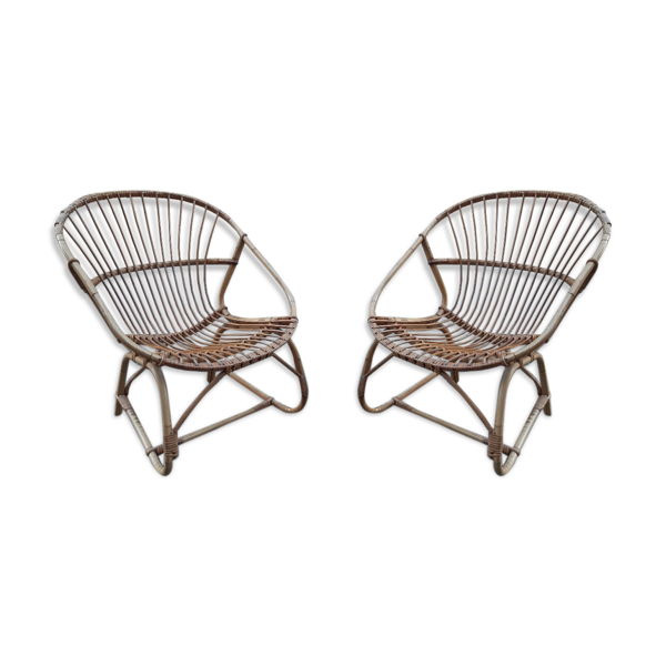 Paire de fauteuils rotin 1969