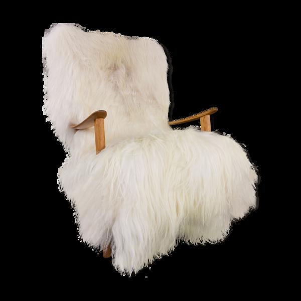 Fauteuil danois en peau de mouton années 60