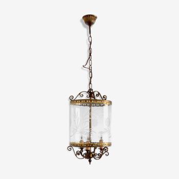 Suspension lanterne en bronze à verre gravé