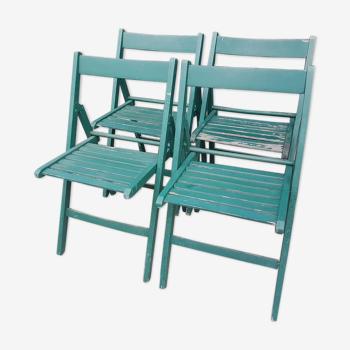 Lot 4 chaises bois pliantes vintage
