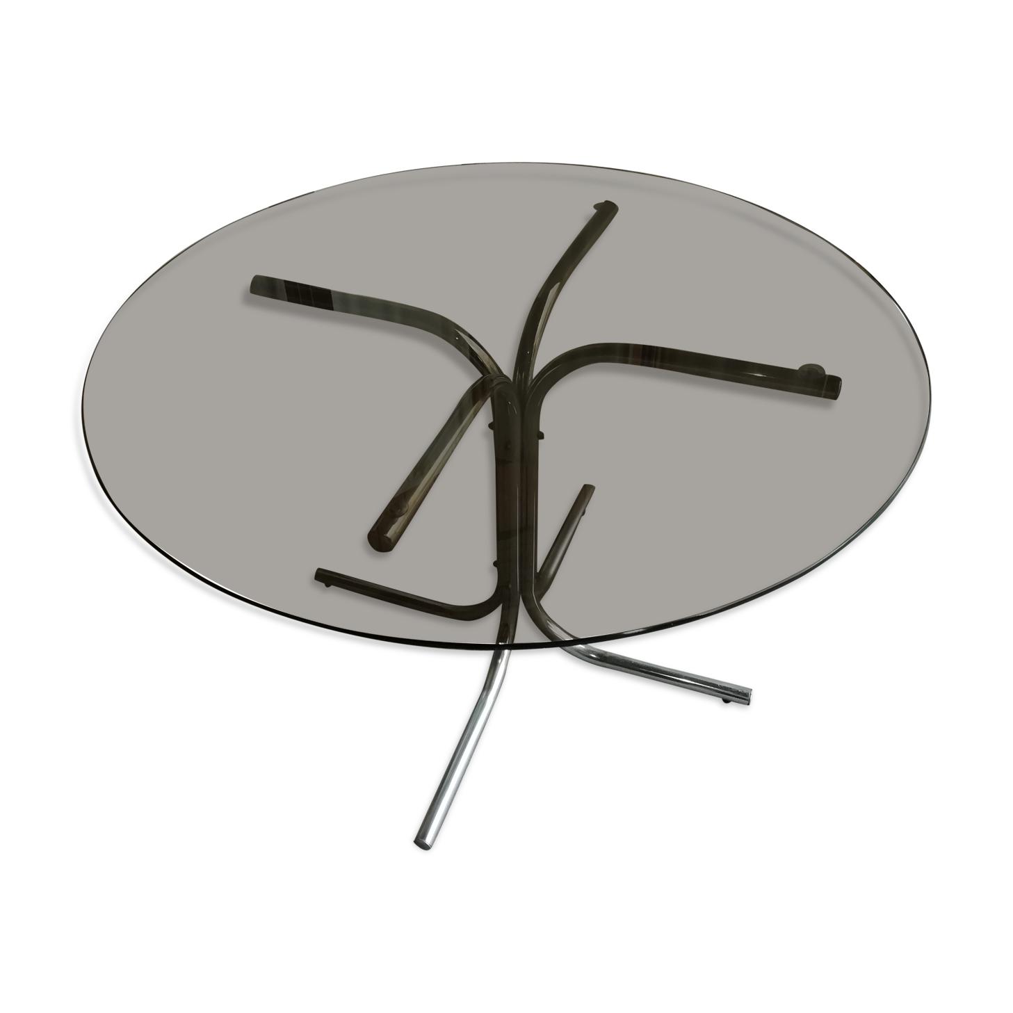 Table salle manger verre et chrome design italien 1970