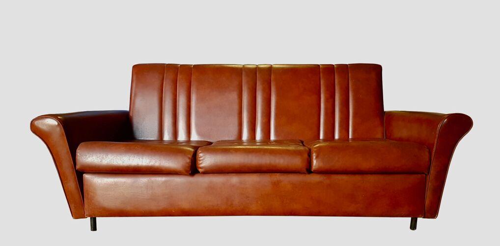 Salon vintage canapé convertible et 2 fauteuils