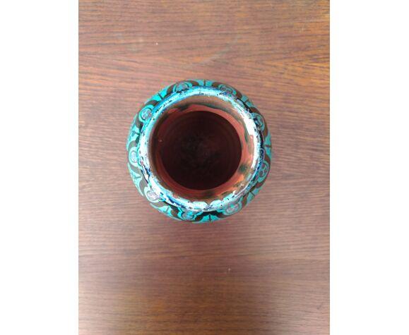 Vase en céramique émaillée bleue