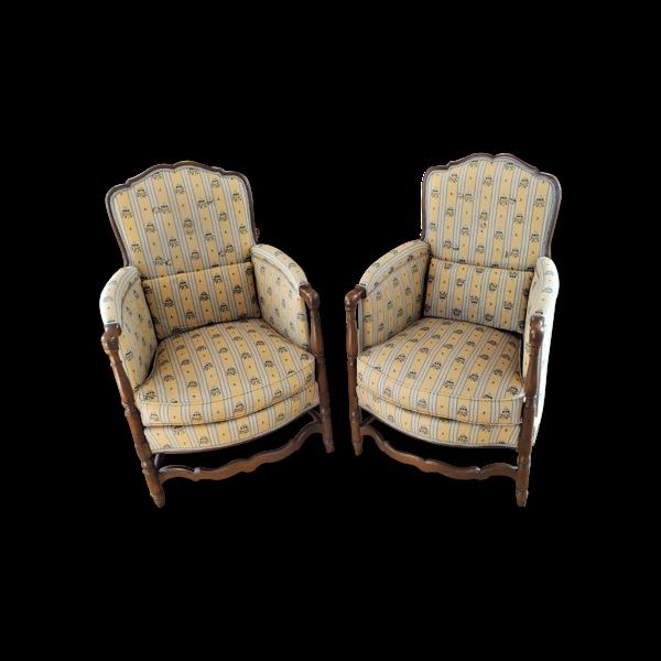 Lot de deux sieges-fauteuils bergeres provencales