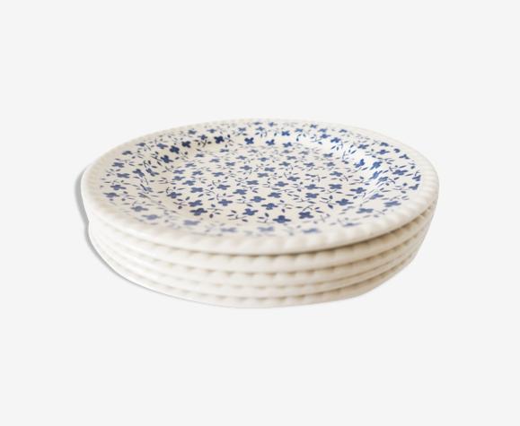 Lot 5 assiettes à dessert porcelaine fleur bleue