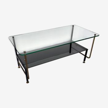 Table basse moderniste - piétement tubulaire métallique et plateau en verre - 1960