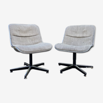 Pair of armchairs by Charles Pollock Knoll 70 edition