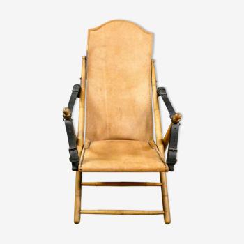 Chaise pliante de salon de campagne de safari antique, Espagne 19ème siècle