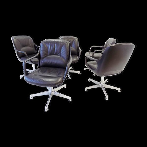 Ensemble chromcraft de 5 fauteuils en cuir noir 60s
