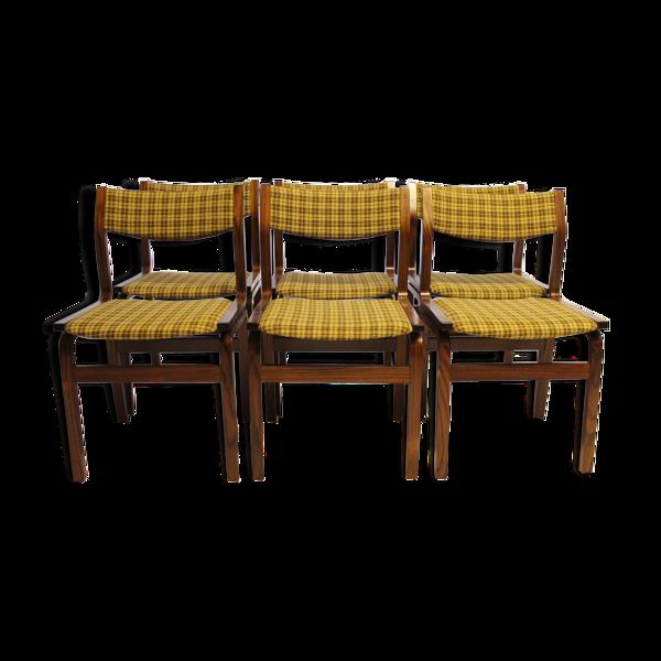 Ensemble de six chaises de salle à manger, années 60