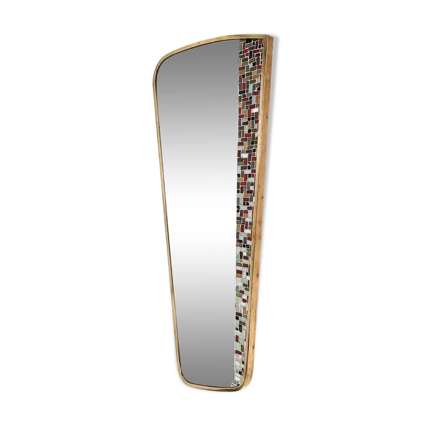 Miroir asymétrique orné de mosaïque Allemagne années 50 42x105cm