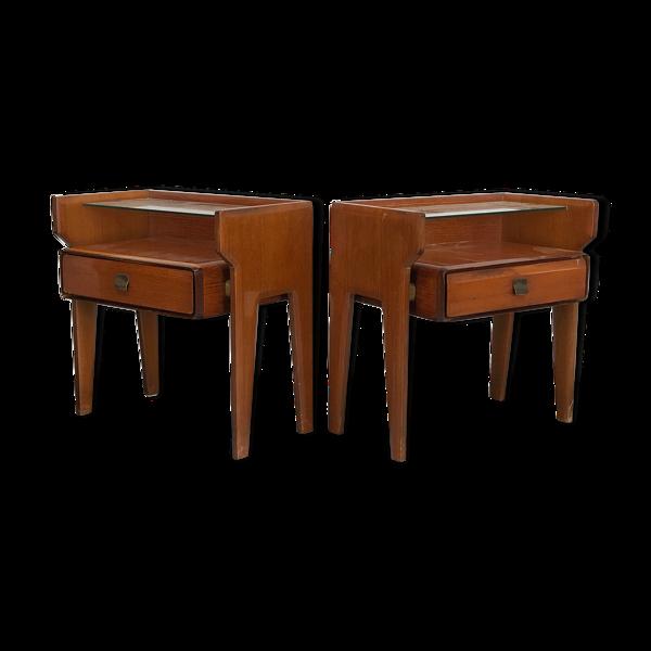 Selency Ensemble de deux tables de chevet italiennes vintage des années 50 Vittorio Dassi