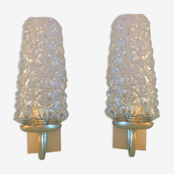 Paire d'appliques verre tulipe et métal doré années 60/70