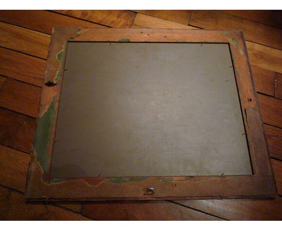 Miroir ancien en pitchpin années 1930-1940 50 X 42 cm