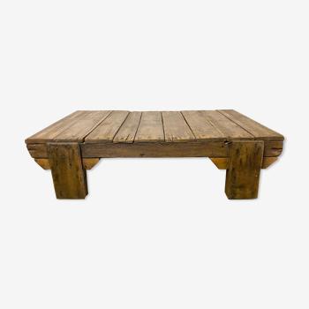 Table basse industrielle en bois vintage années 1950