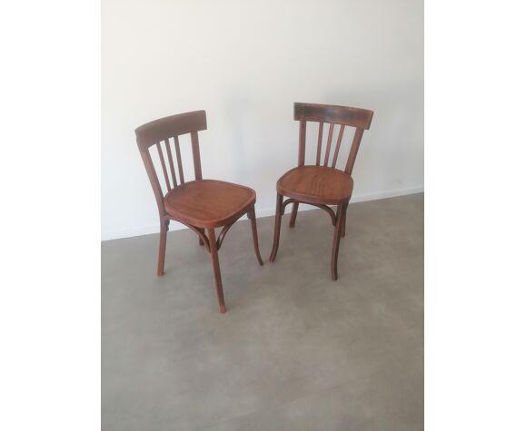 Paire de chaises de bistrot Baumann en hêtre dans leur jus - 1940