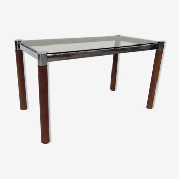 Table basse vintage bois et chrome
