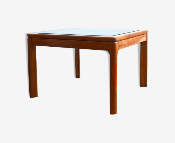 Table basse scandinave teck et verre 1970