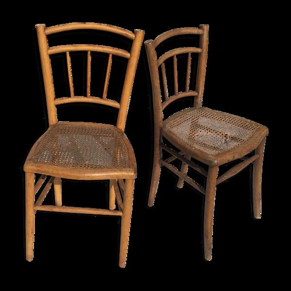 Duo de chaises cannées