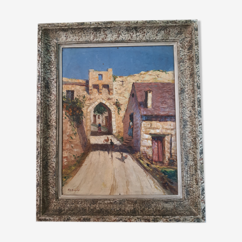 Peinture vue sur rue vill des Avignon