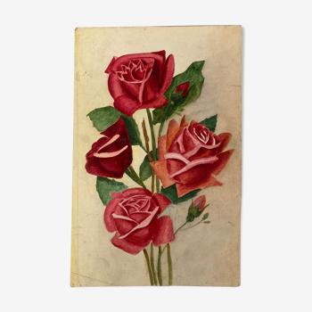 Aquarelle vintage aux roses