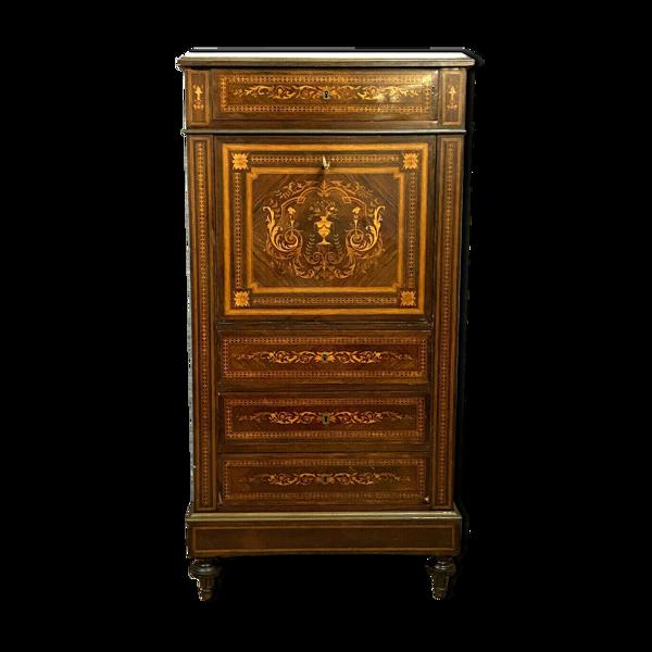 Selency Secrétaire de dame époque Napoléon III en marqueterie de bois précieux vers 1850