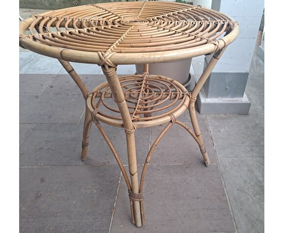 Table d'appoint italienne en bambou du milieu du siècle