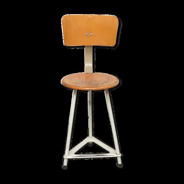 Chaise d'atelier bois et acier