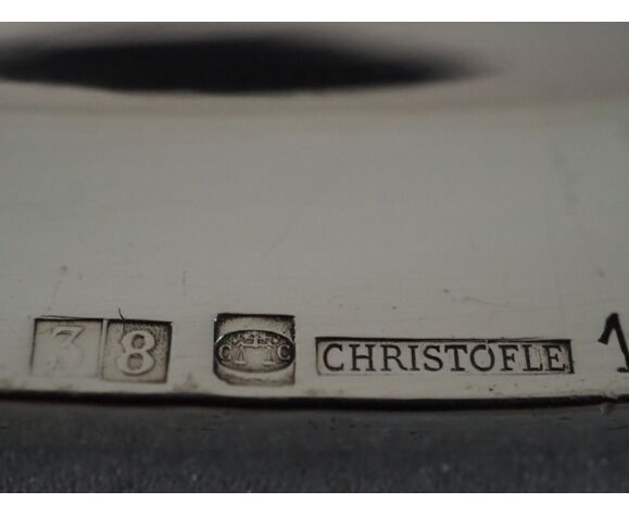 Plat monogrammé de forme ovale collection Chinon filets Christophle