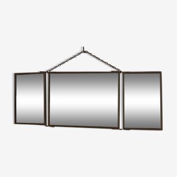 Miroir triptyque en métal 42x15cm