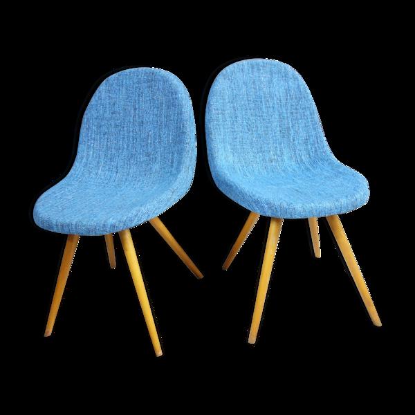 Deux chaises bleues Miroslav Navratil des années 1960